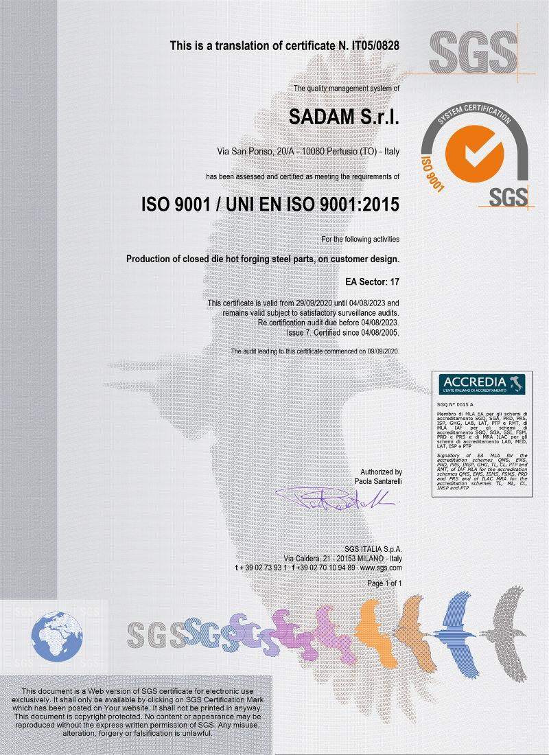 Sadam certificato ISO9001 2017-2020